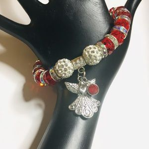 NEW NWT Angel Red Crystal Christmas Bracelet Gift